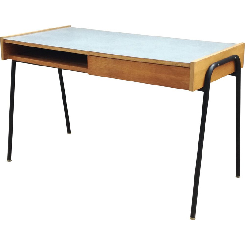 Vintage Sonacotra desk by Pierre Guariche in oak and metal 1950