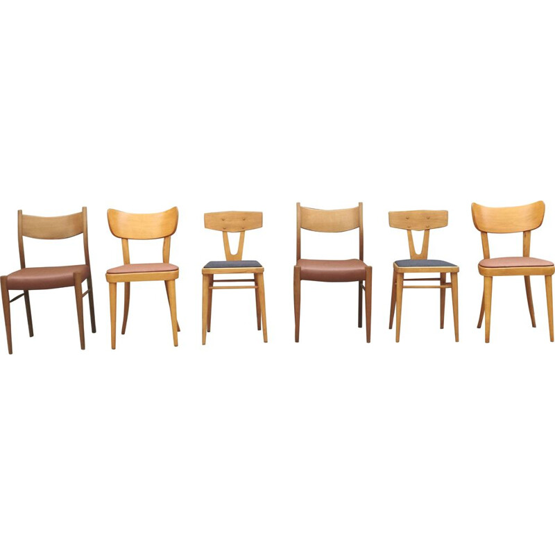 Set of 6 vintage mismatched chairs in wood 1960