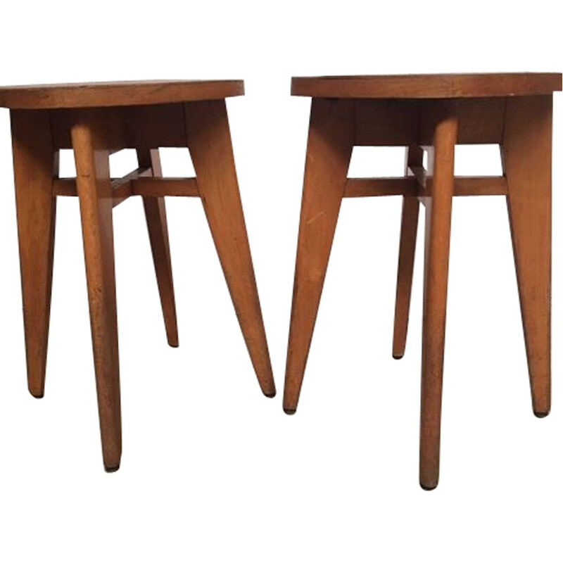 Pair of vintage french stools for Baumann in beech 1950