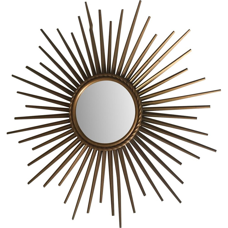 French vintage mirror in gold metal 1960