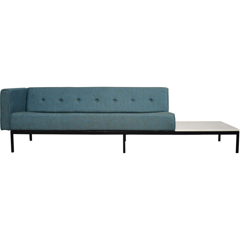 Vintage 070-series sofa for Artifort in blue fabric and with a marble coffee table