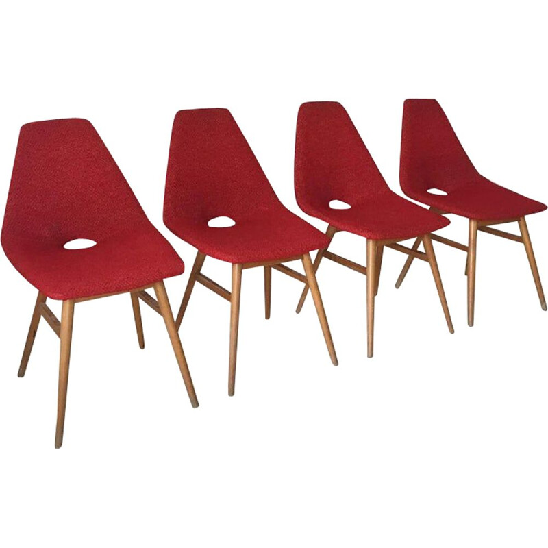 Set of 4 vintage chairs by Burian and Szek in red fabric 1950s