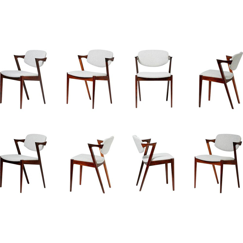 Set of 8 vintage chairs for Skovman Andersen in grey wool and rosewood 1950s