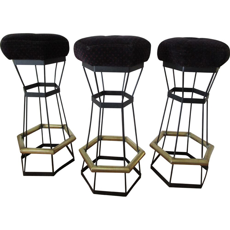 Trio of vintage bar stools in brass and black metal 1980