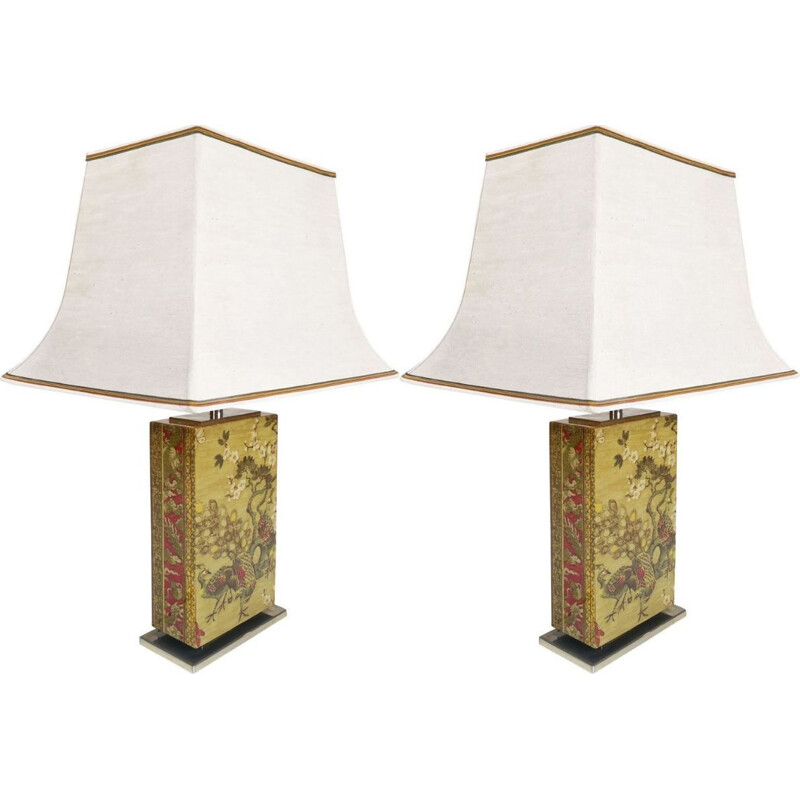 Pair of vintage Chinese lamps for Belgo Chrom in steel and fabric 1970