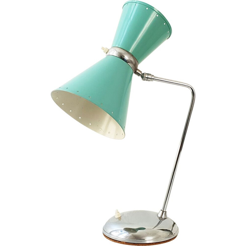 Vintage diabolo table lamp in green steel 1950