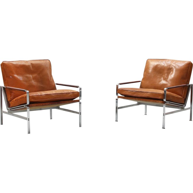 Vintage pair of lounge chairs by Preben Fabricius & Jørgen Kastholm for Alfred Kill International 1968