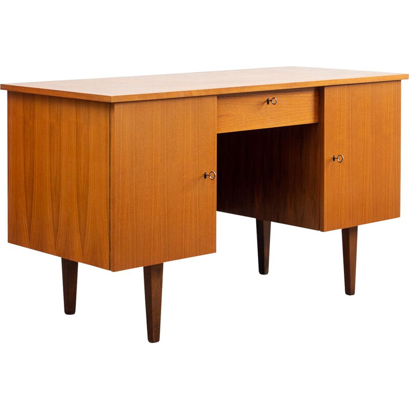 Vintage cubical 1960s desk, walnut