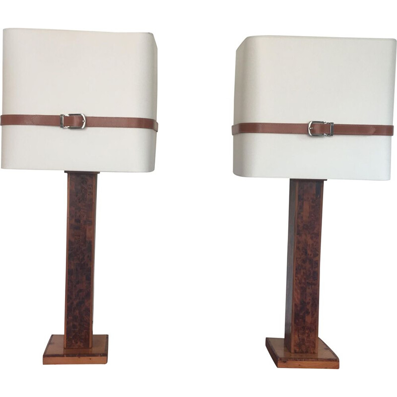 Pair of vintage lamps beige 1970s