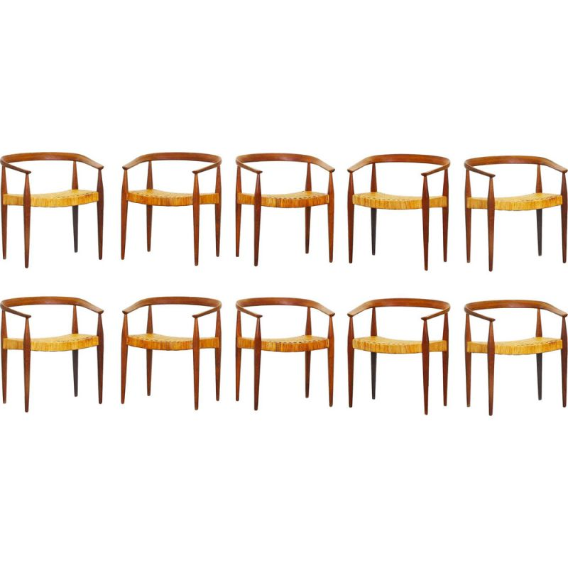 Set of 10 vintage dining chairs in oak by Nanna Ditzel for Kold Savaerk Mod.113, Denmark