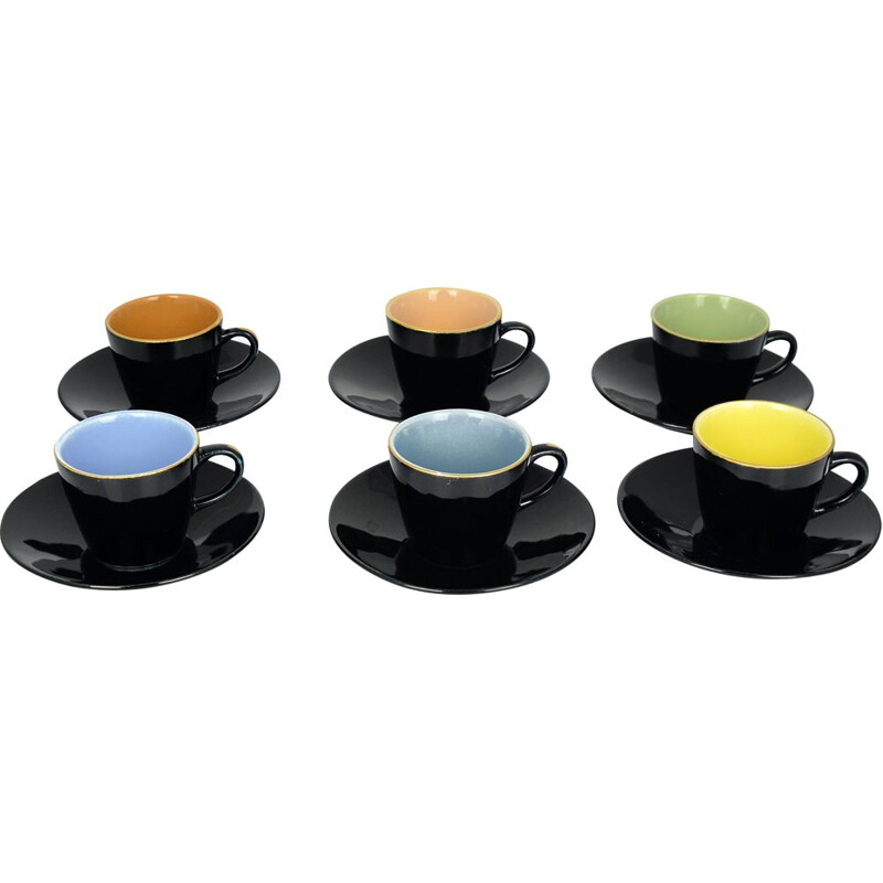 Set of 6 vintage colorful cups Ditmar Urbach, Czechoslovakia 1950s