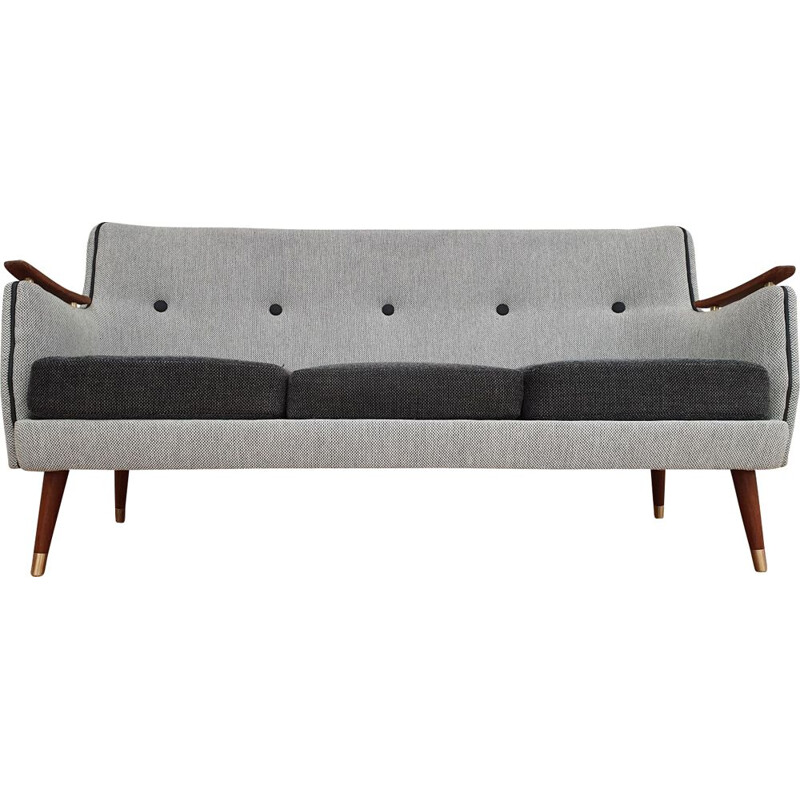 Vintage sofa grey in mahogany Scandinavian 1970s