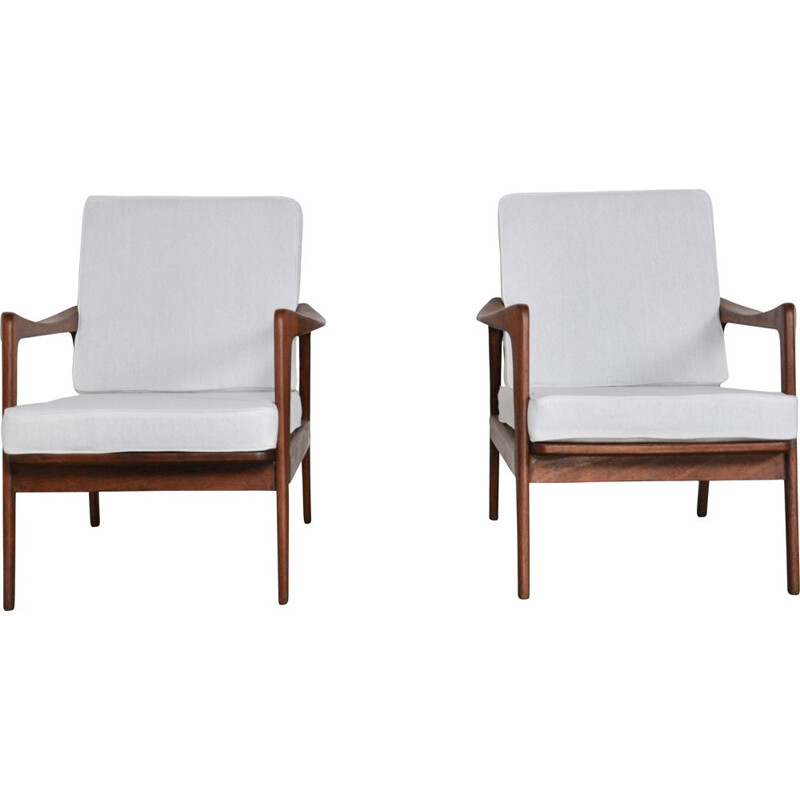 Pair of vintage armchairs white in teak Scandinavian 1970s