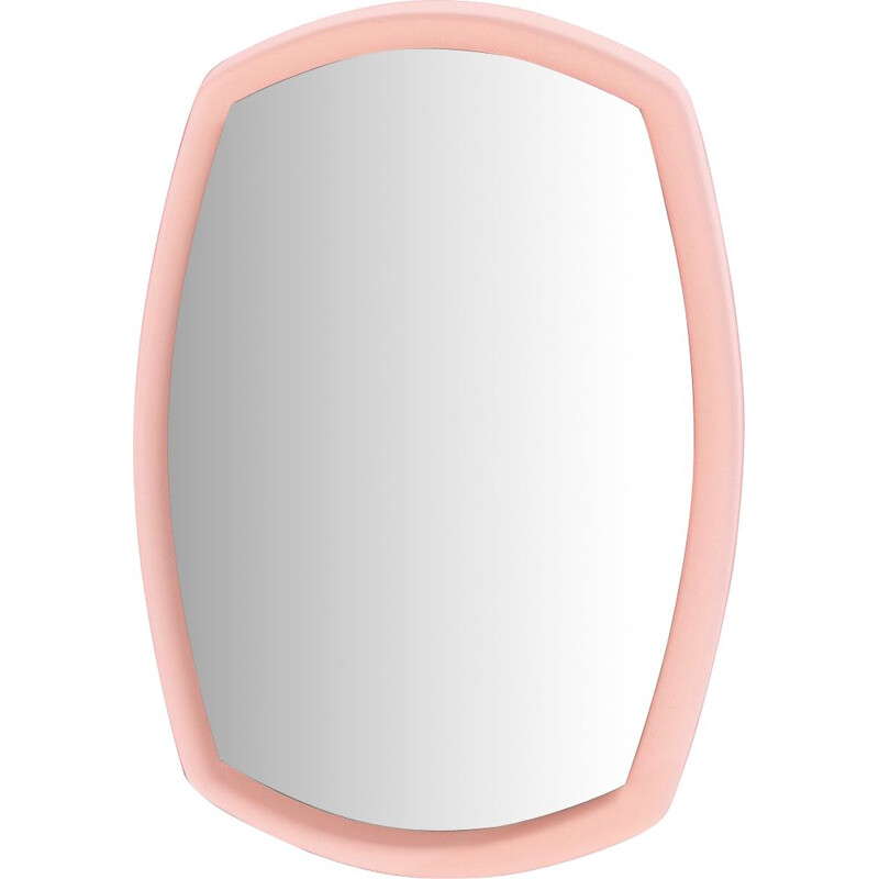 Vintage italian pink wall mirror in glass 1960s
