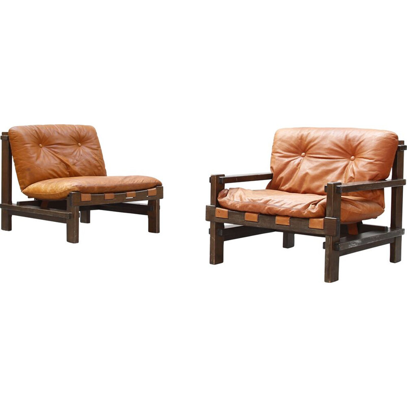 Pair of vintage armchairs by Carl Straub in leather 1960s