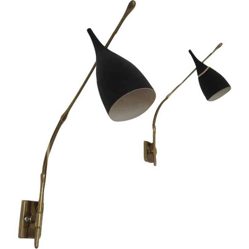 Pair of vintage Pulcinella sconces for Arredoluce in aluminium and brass 1950