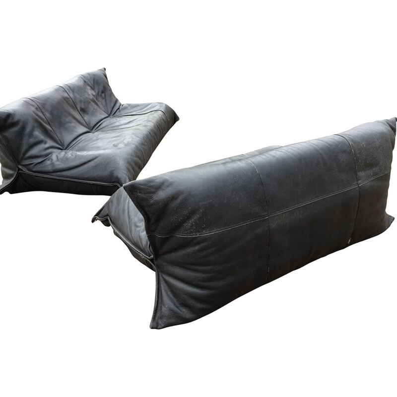 2-seater vintage sofa for Ligne Roset in black leather 1970