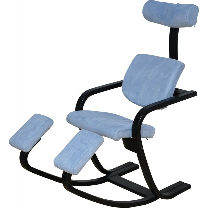 Vintage Duo balance lounge chair for Stokke in blue fabric 1980s