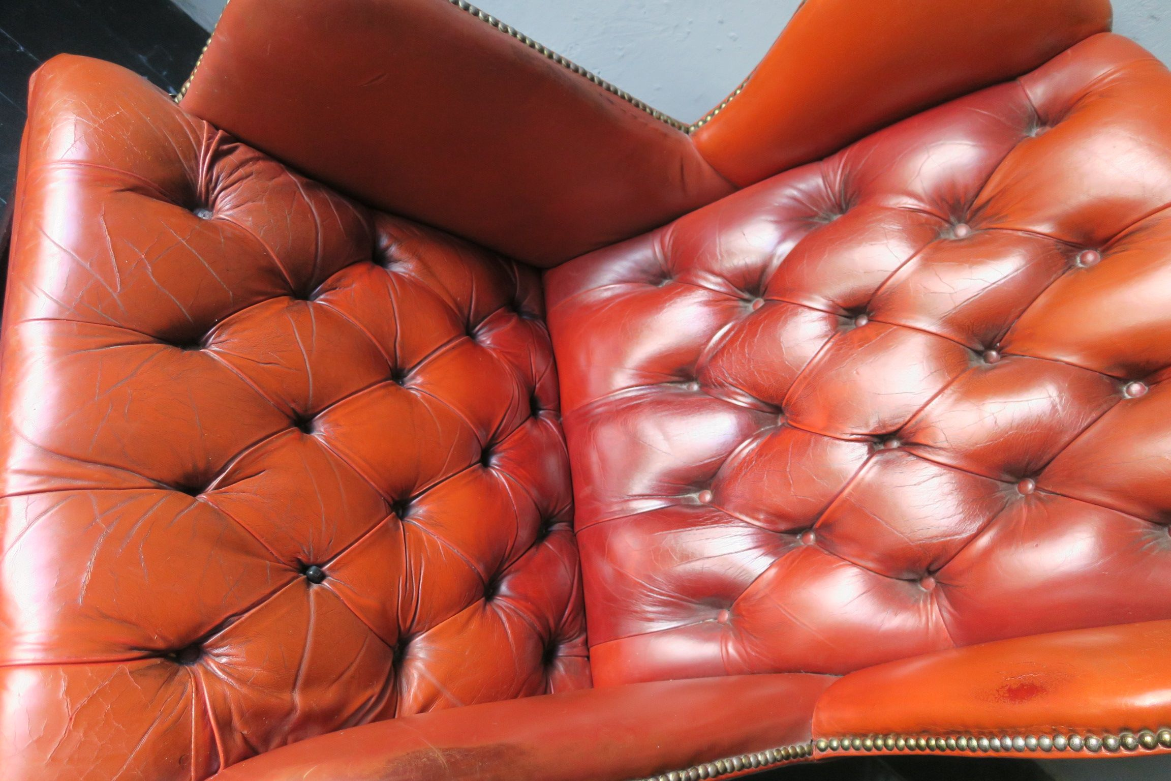 Vintage Tufted Chesterfield Brown Leather Wing Armchair
