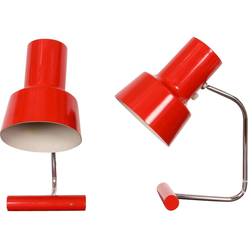Pair of vintage lamps to lay for Napako in red metal 1970