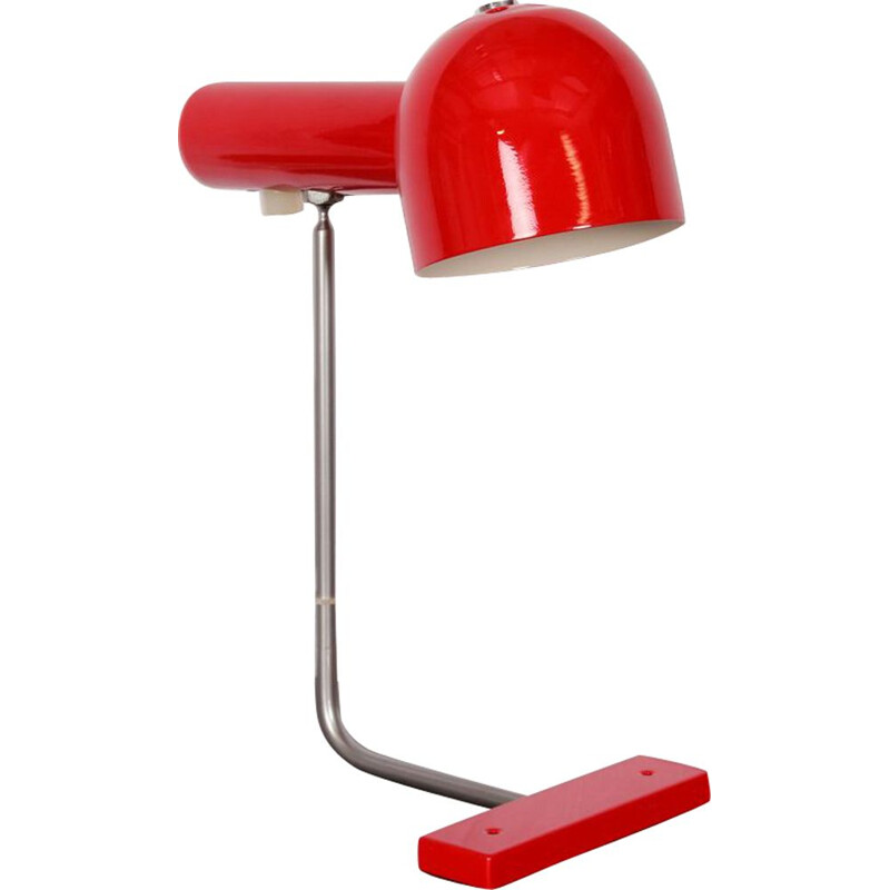 Vintage Czech lamp by Josef Hurka for Napako in red metal 1960