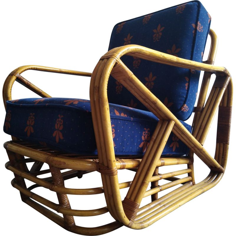 Vintage Paul Frankl lounge chair in bambou 1950s