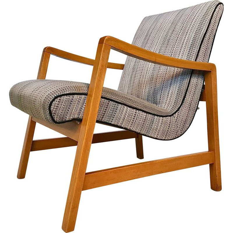 Vintage Vostra 602 armchair for Knoll in grey wool and beech 1950s
