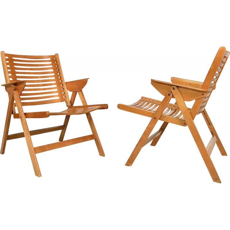 Pair of vintage Rex Folding chairs for Impakta Les in beech and metal 1960s