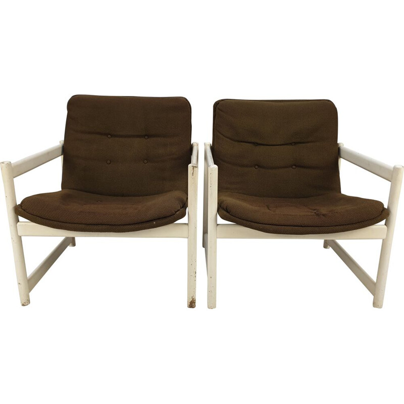 Pair of vintage 458 armchairs for Artifort in brown fabric 1960s