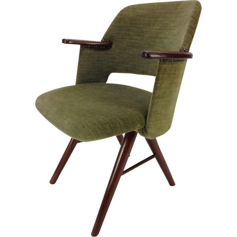 Vintage FT30 armchair for Pastoe in green fabric and teak 1960s