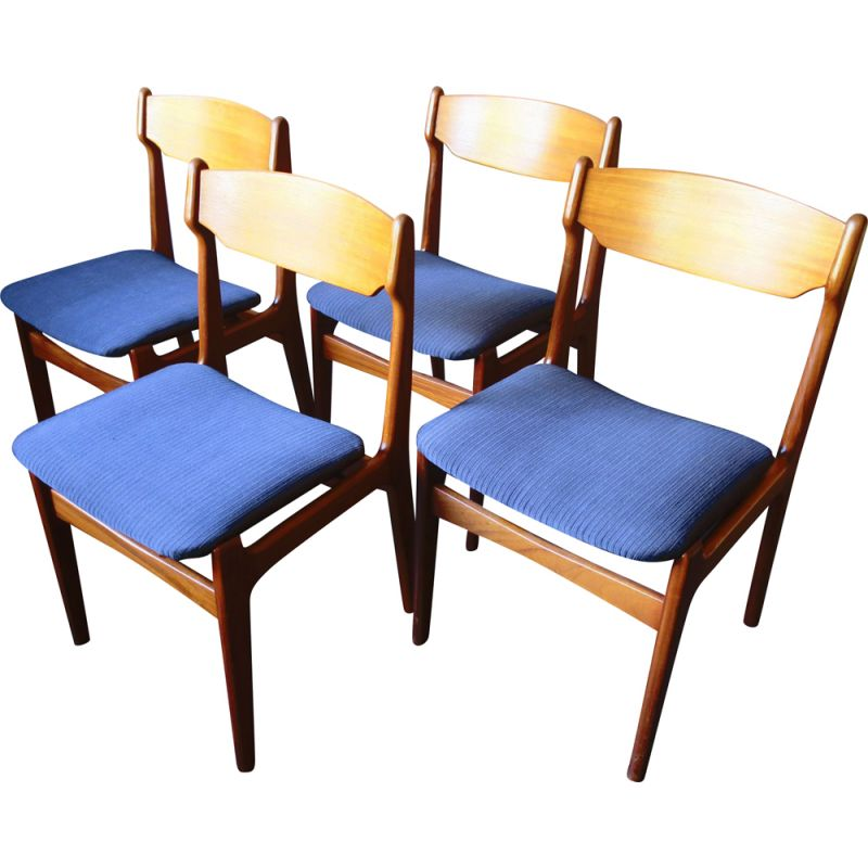 Set of 4 vintage danish chairs by Erik Buch in blue fabric and teak 1960s