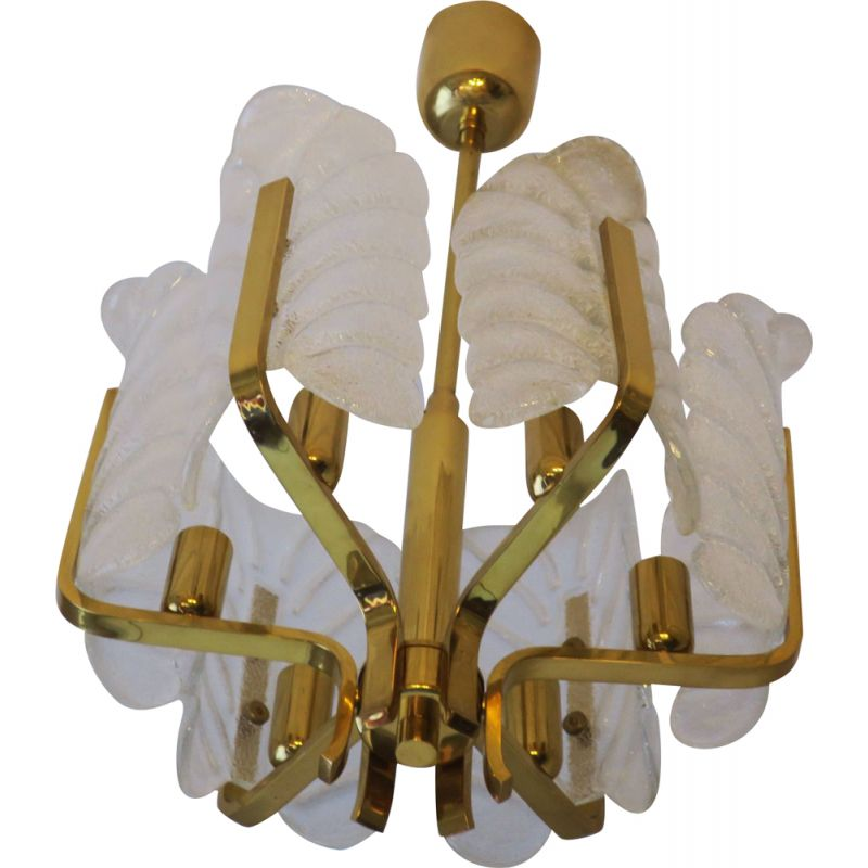 Vintage chandelier by Carl Fagerlund for Orrefors in brass and glass 1960s