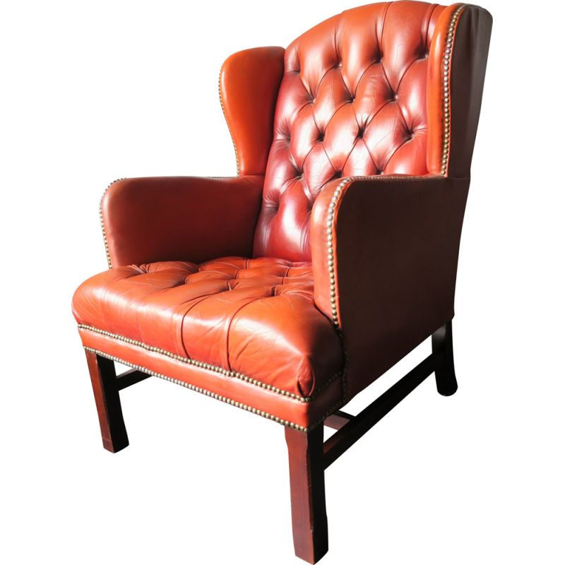 Outstanding Vintage Tufted Chesterfield Brown Leather Wing Armchair Machost Co Dining Chair Design Ideas Machostcouk