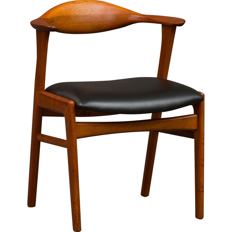 Vintage Erik Kirkegaard model 49 teak chair with black leather