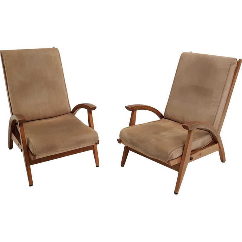 Pair of fS 134 tilted vintage armchairs by Guy Besnard for Free Span