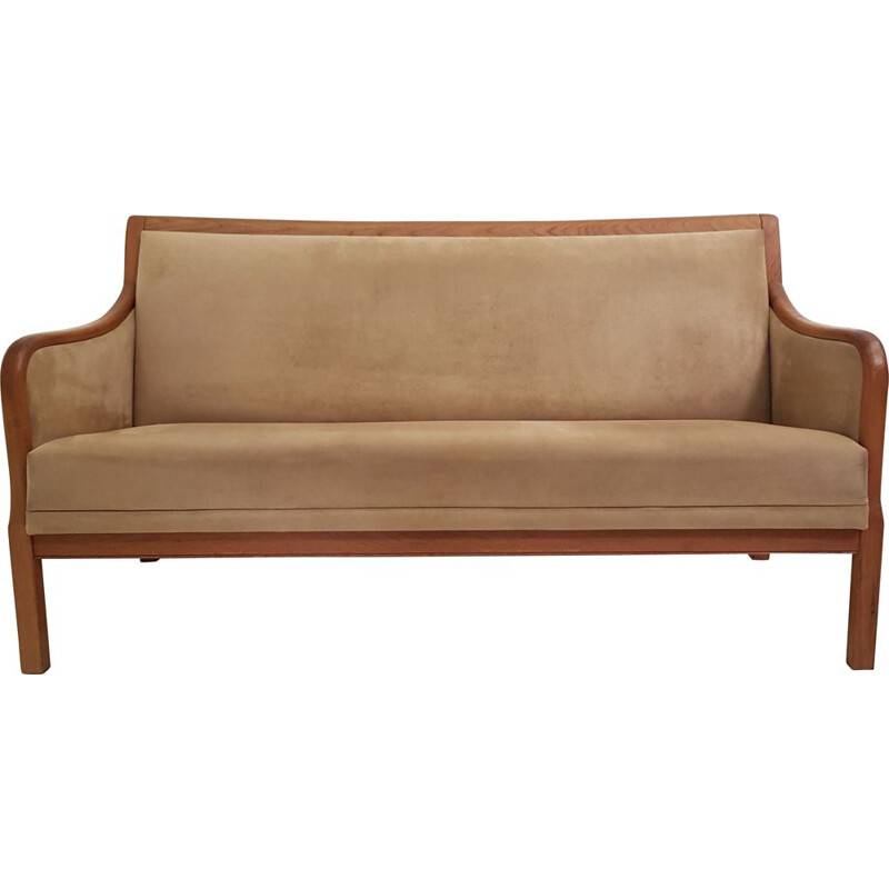 Vintage Scandinavian teak and suede sofa edition Form 75