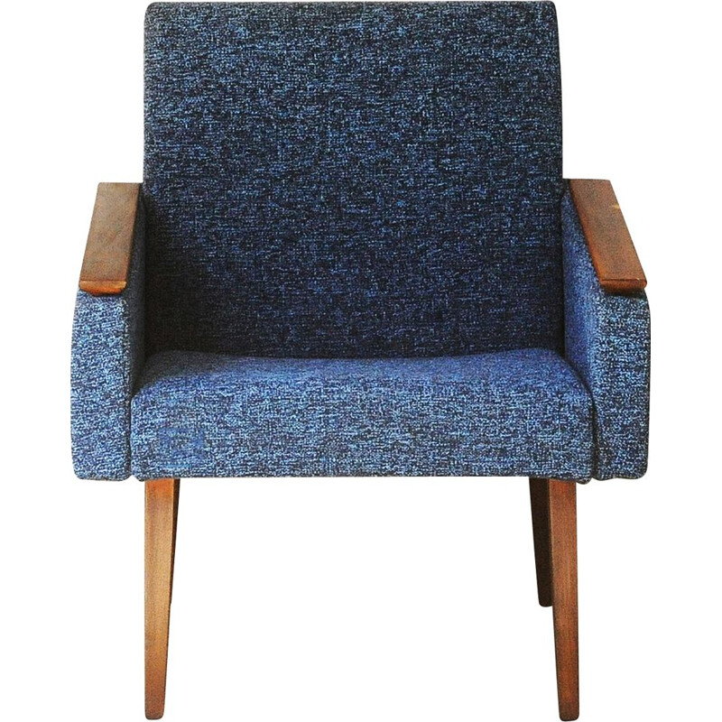 Vintage chair in 1950 blue wool