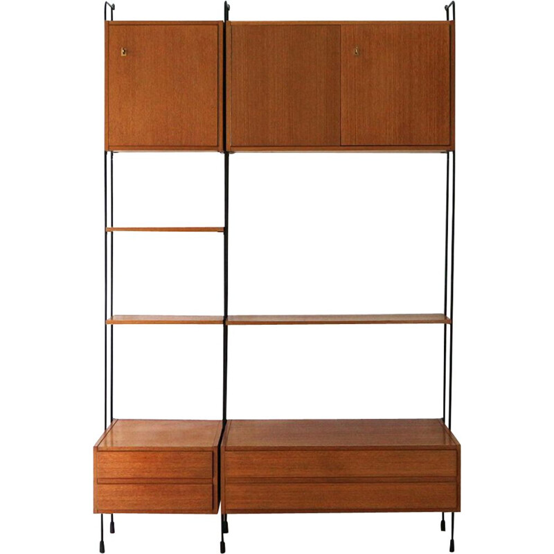 Vintage wall unit in teak by Omnia Hilker, 1960s