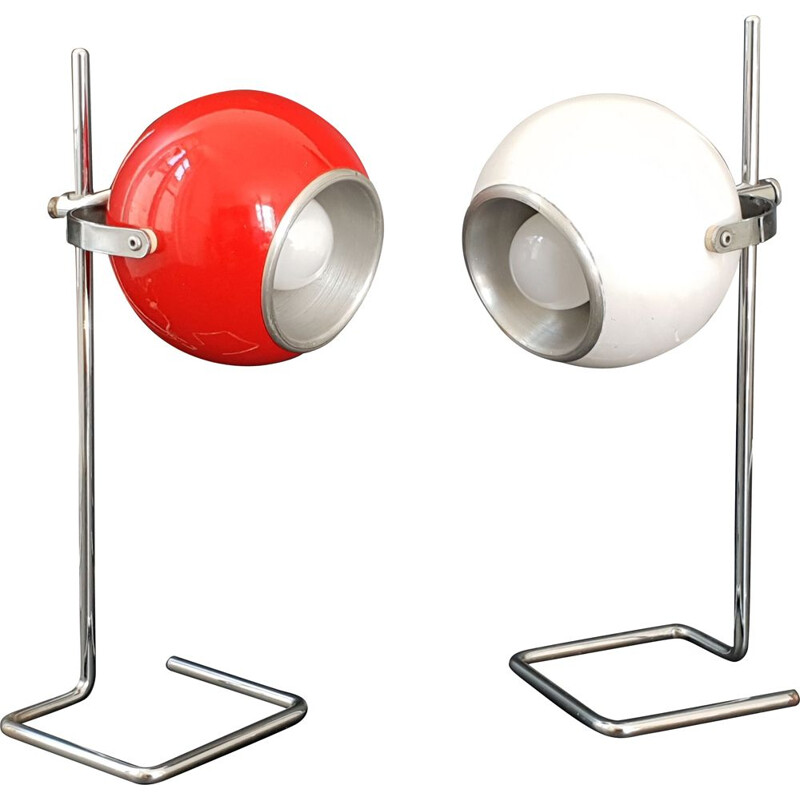 Pair of vintage lamps eye ball 1970