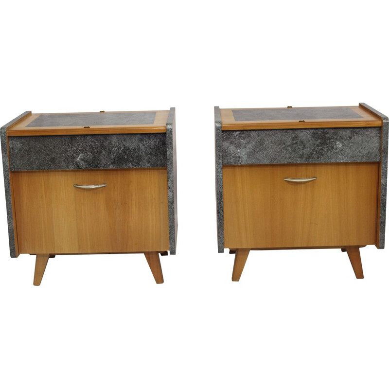 Pair of vintage bedside tables France 1950s