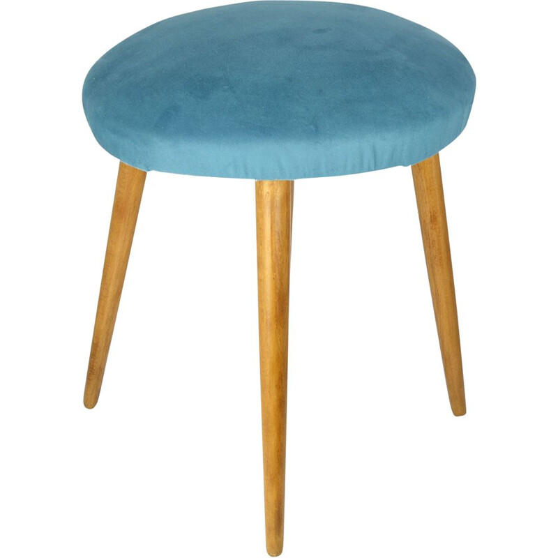 Vintage stool turquoise zydel upholstered Germany, 1960s