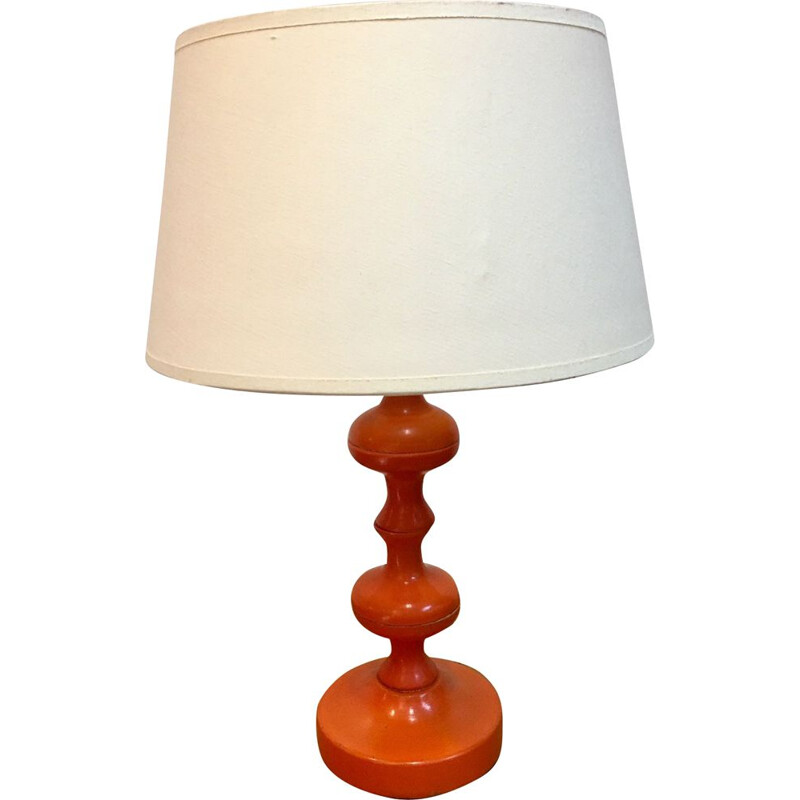 Vintage lamp orange turned wooden foot 1970s