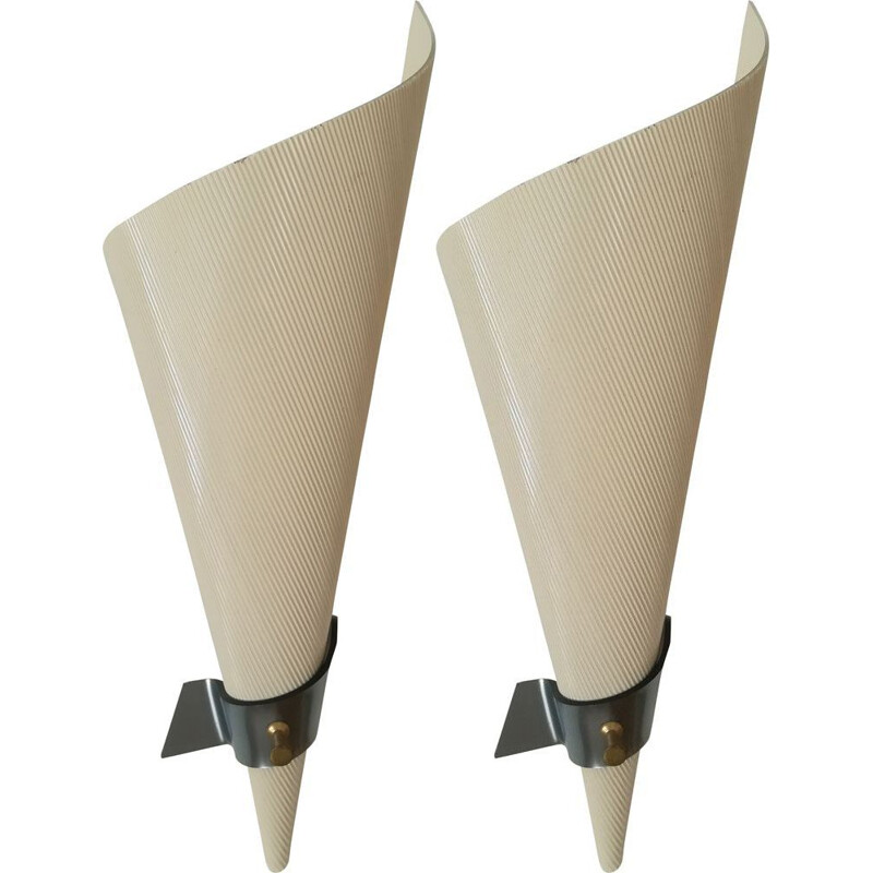 Pair of vintage ivory-coloured plastic sconces 1950