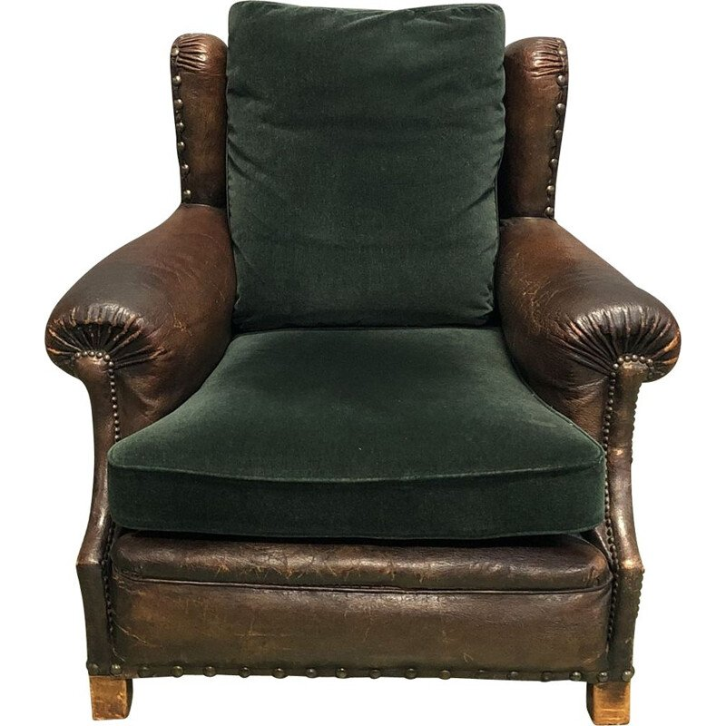 Vintage armchair club in leather and fabric France early 20th century