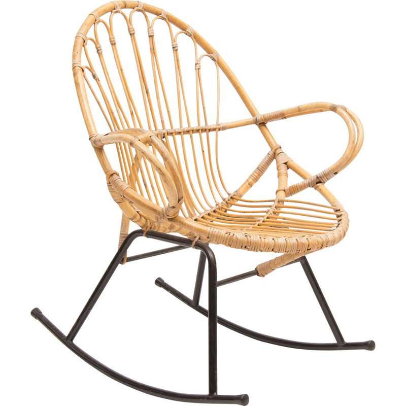 Vintage rocking chair in rattan by Rohe Schommelstoel 1960s