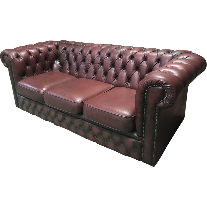 Vintage 3-seater sofa in red leather from the 70s