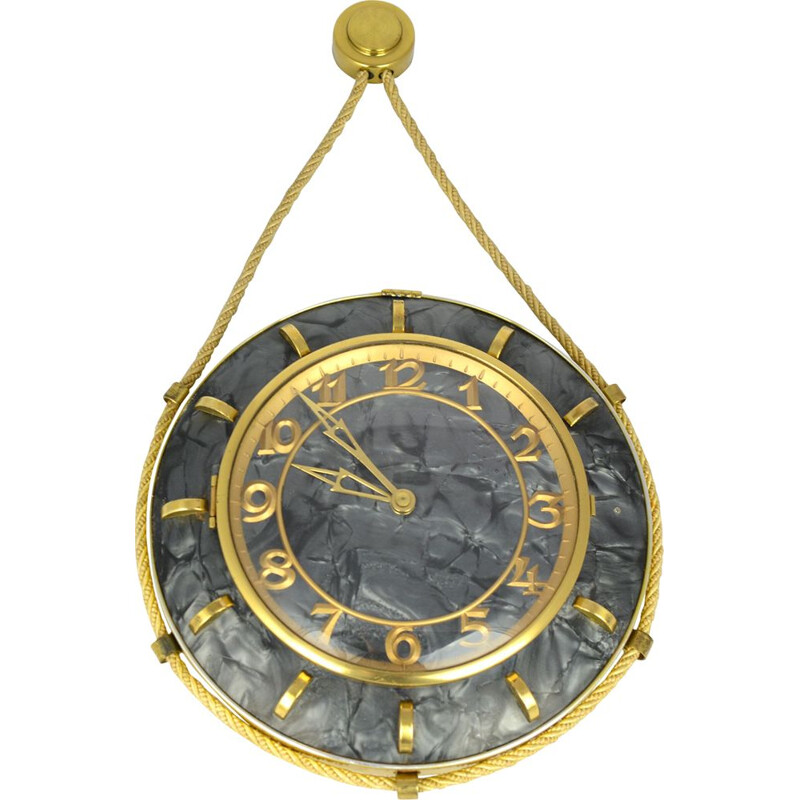 Vintage mechanical wall clock by UPG Halle in mother of pearl, Germany 1960s