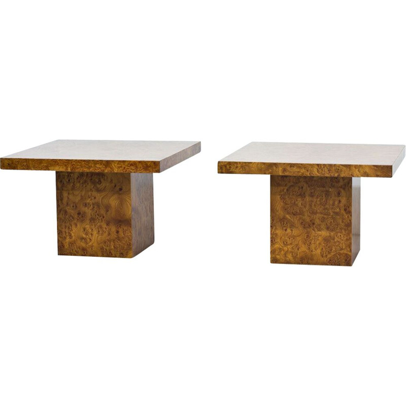 Pair of vintage coffee tables in elm Italy 1970s