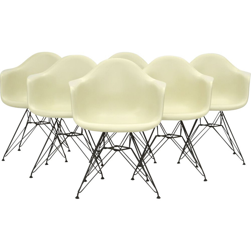 Set of 6 vintage Eames Fiberglass Arm Chairs DAR