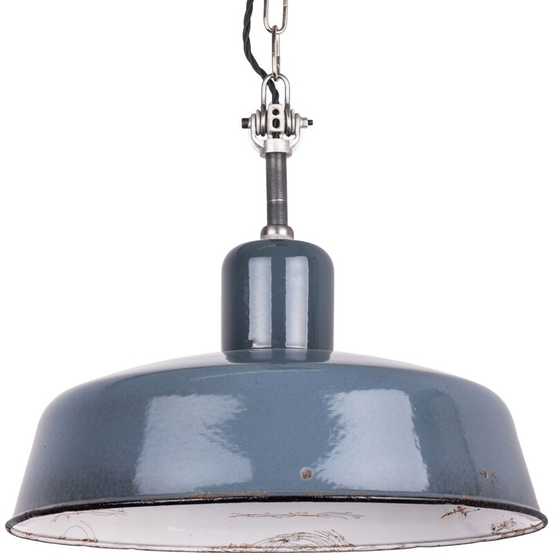 Vintage Industrial Blue-Grey Pendant Lamp from Siemens